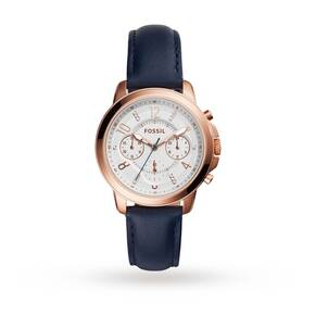 Fossil Chronograph Indigo-Dyed Leather Watch ES4040