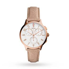 Fossil Ladies Abilene Light Brown Leather Chronograph Watch CH3016