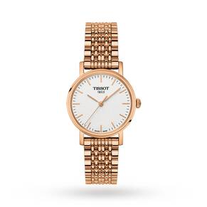 Tissot Every time Small White Dial Ladies Rose Gold Tone Watch