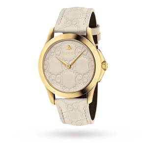 Gucci G-Timeless Cream Leather Watch YA1264033