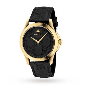 Gucci G-Timeless Black Leather Watch YA1264034