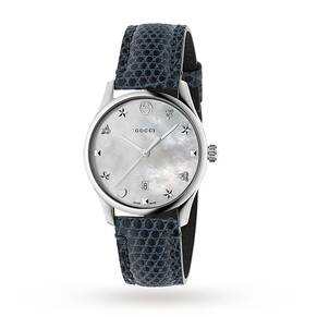 Gucci G-Timeless Blue Leather Watch YA1264049
