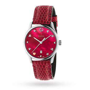 Gucci G-Timeless Cherry Leather Watch YA1264041