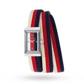 Gucci G-Frame Collection Red and Blue Strap Watch