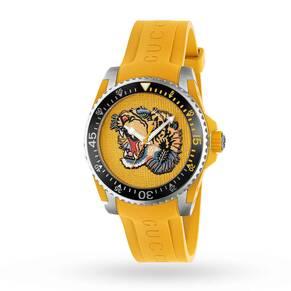 Gucci Dive Tiger Rubber Strap Watch YA136317