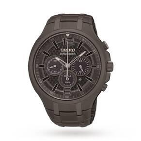 Seiko Solar Men's Grey Ion-Plated Bracelet Watch SSC453P9