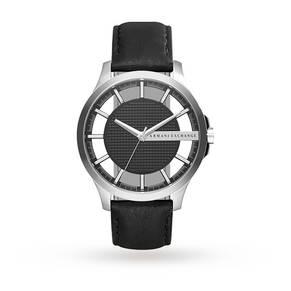Armani Exchange Men's Dress Black Leather Strap Watch AX2186