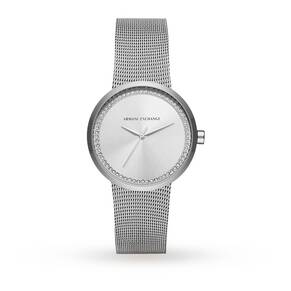 Armani Exchange Ladies Silver Steel Braclet Watch