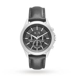 Armani Exchange AX2604 Men's Chronograph Leather Strap Watch, Black