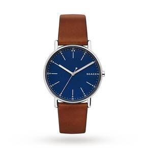 Skagen Men's Signature Brown Leather Strap Watch 40mm SKW6355