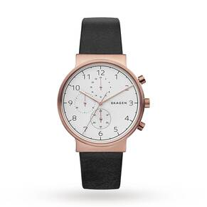 Skagen Men's Ancher Chronograph Leather Strap Watch, Black/White