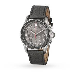 Victorinox Chrono Classic Slate Grey Dial Black Leather Strap Men's Watch
