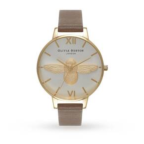 Olivia Burton Animal Motifs Moulded Bee Taupe, Gold & Silver