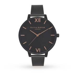 Olivia Burton After Dark Black Mesh IP & Rose Gold Dial