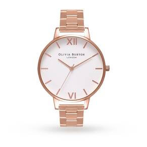 Olivia Burton White Dial Bracelet Rose Gold Watch