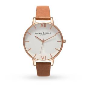 Olivia Burton White Dial Tan & Rose Gold Watch