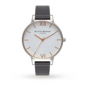 Olivia Burton White Dial Black, Silver and Rose Gold Watch