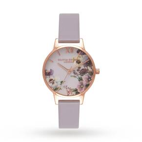 Olivia Burton Embroidery Pansy Grey Lilac & Rose Gold