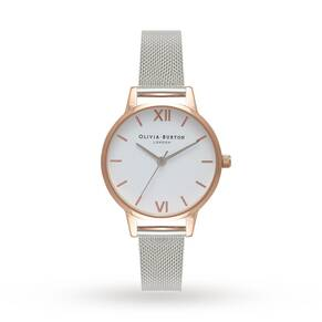 Olivia Burton Ladies' White Dial Mesh Watch