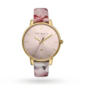 Ted Baker Ladies' Rose Print Patent Leather Strap Watch