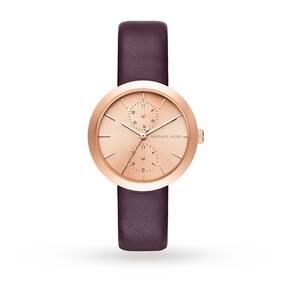 Michael Kors Ladies Garner Plum Leather Chronograph Watch MK2575