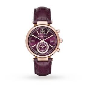 Michael Kors Ladies Sawyer Plum Leather Chronograph Watch MK2580