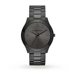 Michael Kors Slim Runway Black IP Three-Hand Watch MK8507