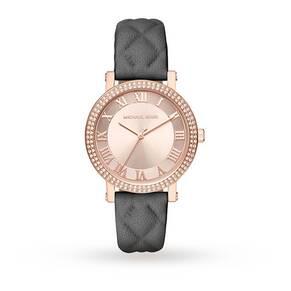Michael Kors Ladies Stone Set Norie Grey Leather Watch