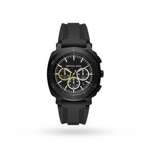 Michael Kors Bax Black IP and Black Silicone Chronograph Watch