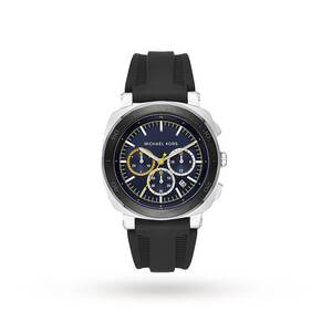 Michael Kors Bax Stainless-Steel and Black Silicone Chronograph Watch
