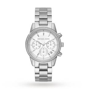 Michael Kors Ladies Ritz Silver Plated Chronograph Watch