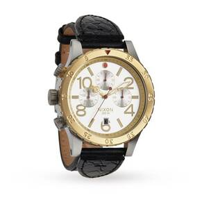 Mens Nixon The 48-20 Chrono Leather Chronograph Watch