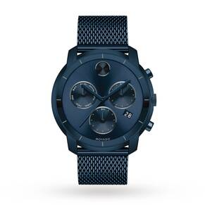 Movado Bold Ink Blue Dial Chronograph Mens Watch