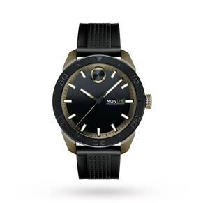 Movado Bold Black Dial Men's Rubber Watch