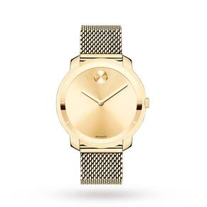 Movado Bold Gold Dial Gold Ion-plated Mesh Watch