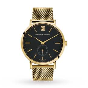 Larsson & Jennings Lugano 40mm Mechanical, Unisex Gold Mesh Watch