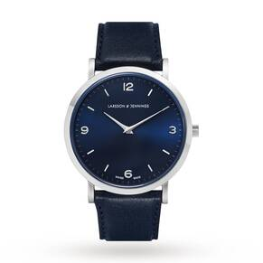 Larsson & Jennings Unisex Lugano 38mm Silver And Navy Watch