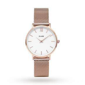 Cluse Ladies Minuit Mesh Rose Gold/White
