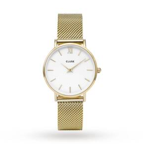 Cluse Ladies Minuit Mesh Gold/White