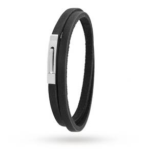 Steel Black Double Wrap Bracelet