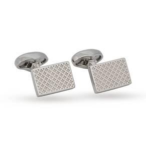 Babette Wasserman Rhodium Plated Clover Tile Cufflinks