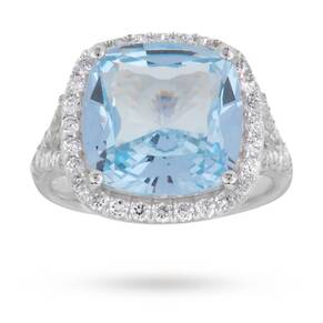 Silver Blue Cubic Zirconia Ring