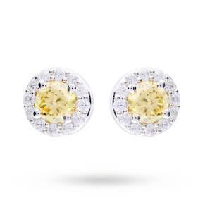 Silver Yellow Cubic Zirconia Halo Stud Earrings