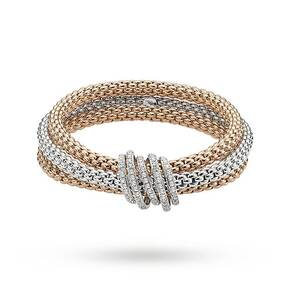 FOPE 18ct Three Colour Solo Mialuce Flex'It 0.43ct Diamond Bracelet