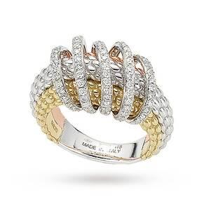 FOPE 18ct Three Colour Solo Mialuce 0.70ct Diamond Ring