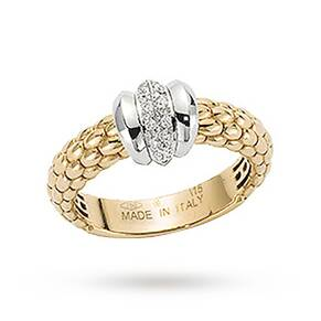 FOPE 18ct Yellow Gold Solo 0.10ct Diamond Ring