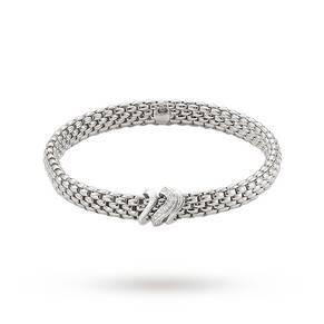 FOPE 18ct White Gold Vendome Flex'It 0.13ct Diamond Bracelet