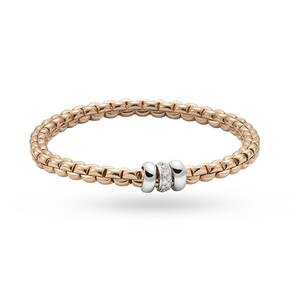 Fope 18ct Rose Gold Exclusive Flex'It Olly 0.17ct Diamond Bracelet