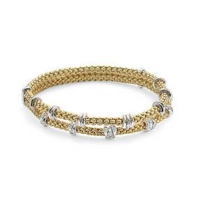Fope 18ct Yellow Gold Flex'it Prima Eyes Double Bracelet