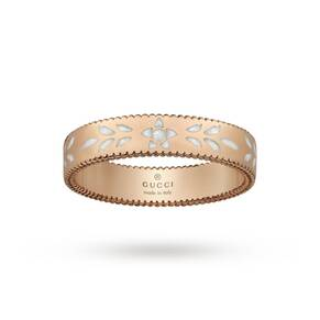 Gucci Icon Blossom Rose Gold and White Enamel Band Ring